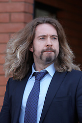 © Licensed to London News Pictures.  02/04/2012. St Albans, UK. TV presenter Justin Lee Collins (pictured) leaves St Albans Crown Court this morning (Mon) after entering a plea of not guilty to the charge of section 4 harassment (causing fear of violence). Photo credit :  Cliff Hide/LNP