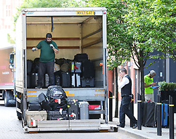 A crew lorries of The Rolling Stones turn up at the Manchester hotel on Sunday evening ahead of the gig at Old Trafford Football Stadium on Tuesday