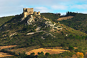 The Chateau d'Aguilar Cathar hilltop fortress dating from the 11th and 12th century on the border to Corbieres. Fitou. Languedoc. The ruins of a chateau fortress. France. Europe.