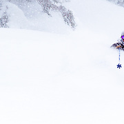 Owen Dudley gets powder in the Cacade backcountry.