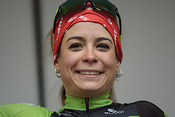 Big smiles from race winner, Sheyla Gutierrez on the podium at the 112.8 km Le Samyn des Dames on March 1st 2017, from Quaregnon to Dour, Belgium. (Photo by Sean Robinson/Velofocus)