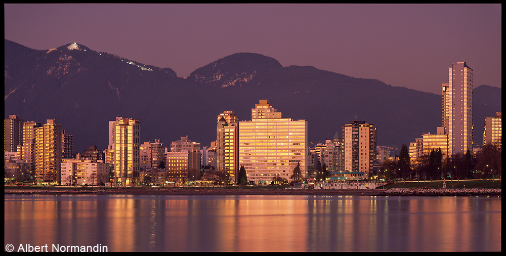 Sunset glowing off West End buildings, Vancouver, British Columbia, Canada