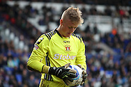 Carlisle United's goalkeeper Jordan Pickford with the ball. Skybet football league 1 match, Tranmere Rovers v Carlisle United at Prenton Park in Birkenhead, England on Saturday 29th March 2014. pic by Chris Stading, Andrew Orchard sports photography.