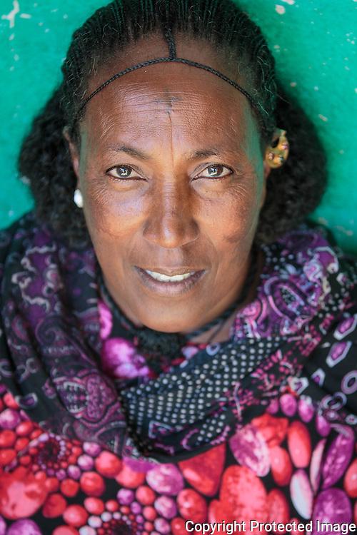 Ethiopia, Tigray Lady with the typical Tigray women haircut