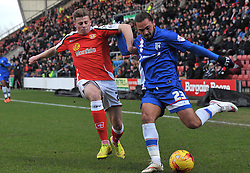 Crewe Alexandra's James Jones competes with Gillingham's Bradley Dack - Photo mandatory by-line: Richard Martin-Roberts - Mobile: 07966 386802 - 10/01/2015 - SPORT - Football - Crewe - Alexandra Stadium - Crewe Alexandra v Gillingham - Sky Bet League One