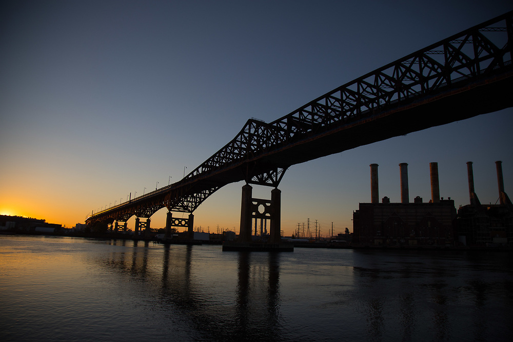Pulaski Skyway in Jersey City at sunset.