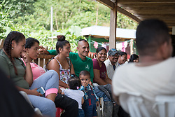 16 November 2018, San José de León, Mutatá, Antioquia, Colombia: Community members partake in a workshop on forgiveness and reconciliation. Following the 2016 peace treaty between FARC and the Colombian government, a group of ex-combatant families have purchased and now cultivate 36 hectares of land in the territory of San José de León, municipality of Mutatá in Antioquia, Colombia. A group of 27 families first purchased the lot of land in San José de León, moving in from nearby Córdoba to settle alongside the 50-or-so families of farmers already living in the area. Today, 50 ex-combatant families live in the emerging community, which hosts a small restaurant, various committees for community organization and development, and which cultivates the land through agriculture, poultry and fish farming. Though the community has come a long way, many challenges remain on the way towards peace and reconciliation. The two-year-old community, which does not yet have a name of its own, is located in the territory of San José de León in Urabá, northwest Colombia, a strategically important corridor for trade into Central America, with resulting drug trafficking and arms trade still keeping armed groups active in the area. Many ex-combatants face trauma and insecurity, and a lack of fulfilment by the Colombian government in transition of land ownership to FARC members makes the situation delicate. Through the project De la Guerra a la Paz ('From War to Peace'), the Evangelical Lutheran Church of Colombia accompanies three communities in the Antioquia region, offering support both to ex-combatants and to the communities they now live alongside, as they reintegrate into society. Supporting a total of more than 300 families, the project seeks to alleviate the risk of re-victimization, or relapse into violent conflict.