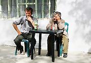 Albania, Benca, Men in the local cafe