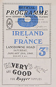 Rugby 1949-29/01 Five Nations Ireland Vs France