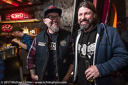 Ola Stenegard and Roland Stocker at the Deus Ex Machina Harajuku store party before the 2017 Mooneyes Show. Tokyo, Japan. Friday December 1, 2017. Photography ©2017 Michael Lichter.