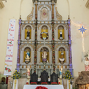 The main altar of the Spanish colonial Cathedral of San Gervasio (Catedral De San Gervasio) in downtown Valladolid, Yucatan, Mexico.