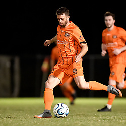 BRISBANE, AUSTRALIA - NOVEMBER 3: James Meyer of Eastern Suburbs passes the ball during the NPL Queensland Senior Mens Round 9 match between Eastern Suburbs FC and Gold Coast Knights at Heath Park on November 3, 2020 in Brisbane, Australia. (Photo by Patrick Kearney)