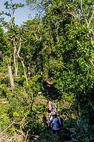 Granada  , Nicaragua - March 07, 2018 : tourist walking in the forest trekking track of the Mombacho Volcano Granada in Nicaragua