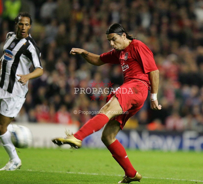 LIVERPOOL, ENGLAND - TUESDAY APRIL 5th 2005:  Liverpool's Milan Baros in action against Juventus during the UEFA Champions League Quarter Final 1st Leg match at Anfield. (Pic by David Rawcliffe/Propaganda)