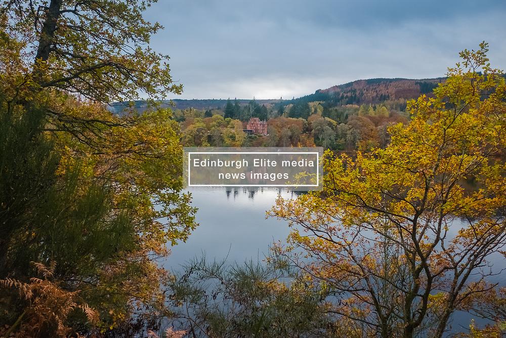 Loch Fiskally Autumnal Reflections looking towards Fonab Castle Hotel.<br /> Neil Bain | EEm 4th November 2017