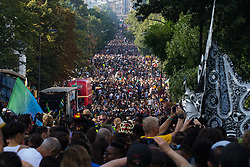London, August 29th 2016. Carnival floats turn onto Ladbroke grove, slowly making their way through the crushing crowd of tens of thousands during day two of Europe's biggest street party, the Notting Hill Carnival.