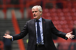 Stoke City manager Mark Hughes gestures during the Carabao Cup, third round match at Ashton Gate Stadium, Bristol.