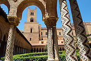 Cloisters with decorated coloumns of Monreale Cathedral - Palermo - Sicily Pictures, photos, images & fotos photography .<br /> <br /> If you prefer you can also buy from our ALAMY PHOTO LIBRARY  Collection visit : https://www.alamy.com/portfolio/paul-williams-funkystock/monrealeduomomosaics.html. Refine search by adding subject etc  into the LOWER SEARCH WITHIN GALLERY box. <br /> <br /> Visit our BYZANTINE MOSAIC PHOTO COLLECTION for more   photos  to download or buy as prints https://funkystock.photoshelter.com/gallery-collection/Roman-Byzantine-Art-Artefacts-Antiquities-Historic-Sites-Pictures-Images-of/C0000lW_87AclrOk