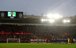 """Both teams stand for a minute's applause in memory of the late Cyrille Regis prior to the Premier League match at St Mary's, Southampton. PRESS ASSOCIATION Photo. Picture date: Sunday January 21, 2018. See PA story SOCCER Southampton. Photo credit should read: Adam Davy/PA Wire. RESTRICTIONS: EDITORIAL USE ONLY No use with unauthorised audio, video, data, fixture lists, club/league logos or """"live"""" services. Online in-match use limited to 75 images, no video emulation. No use in betting, games or single club/league/player publications."""