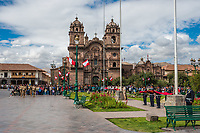 Cuzco, Peru - July 14, 2013: army parade in the Plaza de Armas at Cuzco Peru on july 14th, 2013
