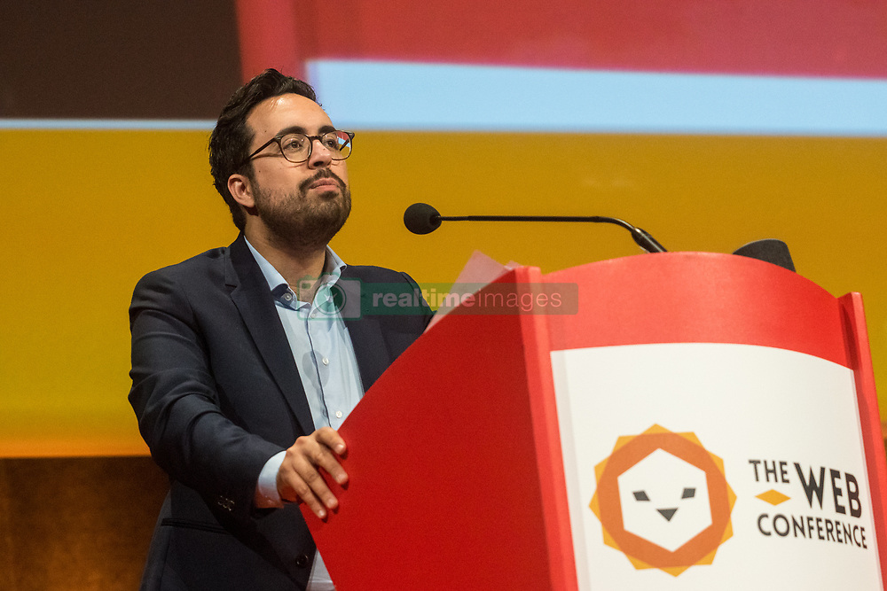 April 26, 2018 - Lyon, France - The Internet Business and New Technologies Fair ''The Web Conference'' took place during the Digital Summ'R in Lyon, France, on April 26, 2018. Mounir MAHJOUBI, Secretary of State to the Prime Minister in charge of digital was present at the show. (Credit Image: © Nicolas Liponne/NurPhoto via ZUMA Press)