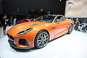 New York, NY, USA-23 March 2016. Jaguar introduced its F-Type SVR, which boasts a 575hp V8 engine, and with a starting price of $125,950.