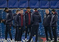 Football - 2019 / 2020 Premier League - Chelsea vs. Aston Villa<br /> <br /> The Aston Villa players gather around Dean Smith, Manager of Aston Villa, as they undertake a pitch inspection at Stamford Bridge <br /> <br /> COLORSPORT/DANIEL BEARHAM
