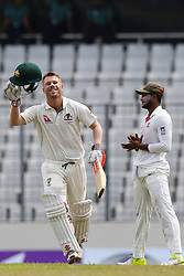 August 30, 2017 - Mirpur, Bangladesh - Australia's David Warner acknowledges the crowed after scoring a century during the fourth day of the first test cricket match against Bangladesh in Dhaka, Bangladesh, Wednesday, Aug. 30, 2017. (Credit Image: © Ahmed Salahuddin/NurPhoto via ZUMA Press)