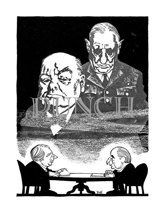 (Edward Heath and Georges Pompidou at their 1971 summit with the ghosts of Winston Churchill and Charles de Gaulle watching over them)