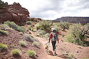 SHOT 5/7/16 10:12:56 AM - Moab is a city in Grand County, in eastern Utah, in the western United States. Moab attracts a large number of tourists every year, mostly visitors to the nearby Arches and Canyonlands National Parks. The town is a popular base for mountain bikers and motorized offload enthusiasts who ride the extensive network of trails in the area. Includes images of Scenic Byway 128, Fisher Towers and downtown Moab. (Photo by Marc Piscotty / © 2016)