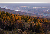 Russia, Sakhalin, Yuzhno-Sakhalinsk. City view from the Gorny Vozdukh Ski center lift.