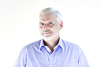 caucasian senior man portrait cheerful isolated studio on white background