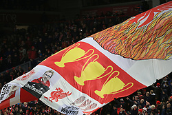 25 November 2017 -  Premier League - Liverpool v Chelsea - A giant banner featuring Jurgen Klopp manager of Liverpool and numerous trophies won by the club - Photo: Marc Atkins/Offside