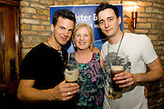 """19/7/2011. Mary Regan Ulster Bank, with two of the Propeller actors Dugal Bruce and Sam Swainsbury in McSwiggans for the pre show reception of Propeller's """"Comedy of Errors"""" by Shakspeare in the Galway Arts Festival, sponsored by Ulster Bank. Photo:Andrew Downes"""
