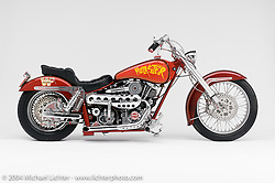 """""""Hulkster,"""" built for Hulk Hogan by Arlen Ness. The 93-inch Shovelhead powered bike has a car turbo mounted under the seat and used big Brembo brakes with double calipers to stop the machine. Bob Munroe hand fabricated the large seven-gallon aluminum gas tanks and Jim Davis made the 7/8 chrome-moly frame and swingarm. The """"Hulskter"""" became Arlen's first celebrity bike, made the covers of many magazines, and went all around the world on tour. <br /> <br /> Appears in the Arlen Ness book """"The King of Choppers,"""" by Michael Lichter and Arlen Ness."""