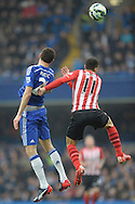 Dusan Tadic of Southampton and Nemanja Matic of Chelsea compete for the ball. Barclays Premier league match, Chelsea v Southampton at Stamford Bridge in London on Sunday 15th March 2015.<br /> pic by John Patrick Fletcher, Andrew Orchard sports photography.