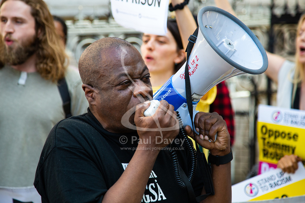 Weyman Bennett from from Stand Up To Racism demonstrates outside The Royal Courts of Justice in London as an appeal by lawyers representing right wing activist Tommy Robinson win his release on bail ahead of a new hearing to be held at The Old Bailey, following his imprisonment on contempt of court charges. London, August 01 2018.