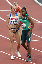 South Africa's Caster Semenya (right) acknowledges Great Britain's Lynsey Sharp after heat 2 of the Women's 800m Semi Final before Sharp is disqualified for a push on USA's Charlene Lipsey (not pictured) during day eight of the 2017 IAAF World Championships at the London Stadium.