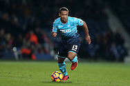 Wayne Routledge of Swansea city in action. Premier league match, West Bromwich Albion v Swansea city at the Hawthorns stadium in West Bromwich, Midlands on Wednesday 14th December 2016. pic by Andrew Orchard, Andrew Orchard sports photography.