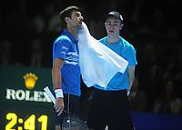 Tennis - 2019 Nitto ATP Finals at The O2 - Day Three<br /> <br /> Singles Group Bjorn Borg: Novak Djokovic (Serbia) vs.Domininic Thiem (Austria)<br /> <br /> Novak Djokovic watches the replay<br /> <br /> COLORSPORT/ANDREW COWIE