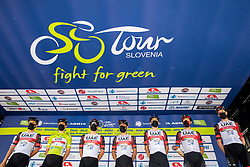 UAE Team with Tadej POGACAR of UAE TEAM EMIRATES and Jan POLANC of UAE TEAM EMIRATES during the 4th Stage of 27th Tour of Slovenia 2021 cycling race between Ajdovscina and Nova Gorica (164,1 km), on June 12, 2021 in Ajdovscina - Nova Gorica, Ajdovscina - Nova Gorica, Slovenia. Photo by Vid Ponikvar / Sportida