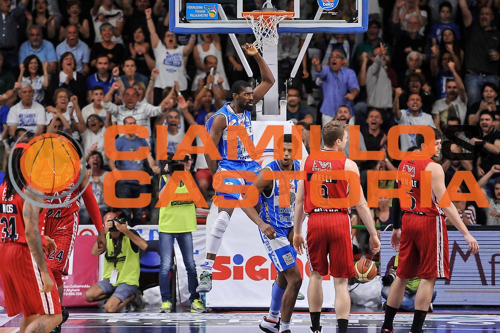 DESCRIZIONE : Campionato 2014/15 Dinamo Banco di Sardegna Sassari - Olimpia EA7 Emporio Armani Milano Playoff Semifinale Gara3<br /> GIOCATORE : Shane Lawal<br /> CATEGORIA : Schiacciata Controcampo Ritratto Esultanza<br /> SQUADRADinamo Banco di Sardegna Sassari : <br /> EVENTO : LegaBasket Serie A Beko 2014/2015 Playoff Semifinale Gara3<br /> GARA : Dinamo Banco di Sardegna Sassari - Olimpia EA7 Emporio Armani Milano Gara4<br /> DATA : 02/06/2015<br /> SPORT : Pallacanestro <br /> AUTORE : Agenzia Ciamillo-Castoria/L.Canu