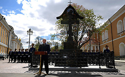 May 4, 2017 - Moscow, Russia - May 4, 2017. - Russia, Moscow. - Russian President Vladimir Putin at the unveiling of a cross near the Kremlin's Nikolskaya Tower in honor of Grand Prince Sergey Aleksandrovich, Governor-General of Moscow in 1891-1905. (Credit Image: © Russian Look via ZUMA Wire)