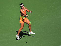 September 4, 2018 - Flushing Meadow, NY, U.S. - FLUSHING MEADOW, NY - SEPTEMBER 04: Anastasija Sevastova (LAT) in action during the quarter-final of the Women's Singles Championships of the US Open on September 4, 2018, at the Billie Jean King Tennis Center in Flushing Meadow, NY. (Photo by Cynthia Lum/Icon Sportswire) (Credit Image: © Cynthia Lum/Icon SMI via ZUMA Press)