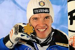 09.02.2011, Kandahar, Garmisch Partenkirchen, GER, FIS Alpin Ski WM 2011, GAP, Herren Super G, Medals Presentation, im Bild Weltmeister Christof Innerhofer (ITA) mit der Goldmedaille // Gold Medal and World Champion Christof Innerhofer (ITA) with Gold Medal during Men Super G, Fis Alpine Ski World Championships in Garmisch Partenkirchen, Germany on 9/2/2011 ++++ ATTENTION STRICTLY EMBARGO:  today, 6.30 p.m +++++, PhotoCredit: EXPA/ E. Spiess