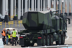 An armed military vehicle is pictured in a holding area outside ExCeL London as preparations for the DSEI 2021 arms fair take place on 6th September 2021 in London, United Kingdom. The first day of week-long Stop The Arms Fair protests outside the venue for one of the world's largest arms fairs was hosted by activists calling for a ban on UK arms exports to Israel.