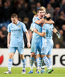 18.10.2011, City of Manchester Stadion, Manchester, ENG, UEFA CL, Gruppe A, Manchester City (ENG) vs FC Villarreal (ESP), im Bild Manchester City's Aleksandar Kolarov celebrates his side's 2-1 injury time win against Villarreal CF with team-mate Sergio Aguero // after UEFA Champions League group A match between Manchester City (ENG) and FC Villarreal (ESP) at City of Manchester Stadium, Manchaster, United Kingdom on 18/10/2011. EXPA Pictures © 2011, PhotoCredit: EXPA/ Propaganda Photo/ Vegard Grott +++++ ATTENTION - OUT OF ENGLAND/GBR+++++