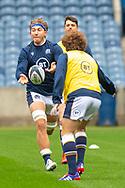 Jamie Ritchie (#6) (Edinburgh) of Scotland passes the ball during the Scotland Team Run at BT Murrayfield, Edinburgh, Scotland on 22 October 2020, ahead of Scotland v Georgia.