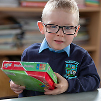 Tyler Peters settles in on his first day at school in Liscannor NS