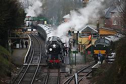 © Licensed to London News Pictures. 07/03/2014. Hampshire, UK. The steam locomotive '35028 - Clan Line', at Alresford Station today, 7th March 2014, which is the first day of the 'spring steam gala' on the Watercress Line. The railway line, operated by Mid Hants Railway Ltd, passes between Alresford and Alton in Hampshire. The line is named after its use in the past for transporting freshly cut watercress from the beds surrounding Alresford to London. Photo credit : Rob Arnold/LNP